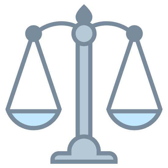 Весы icon. It's a drawing of the scales of justice.  Its a drawing of an old mechanical scale with one side of the scale lower than the other to indicate that a weight has been placed on that side.