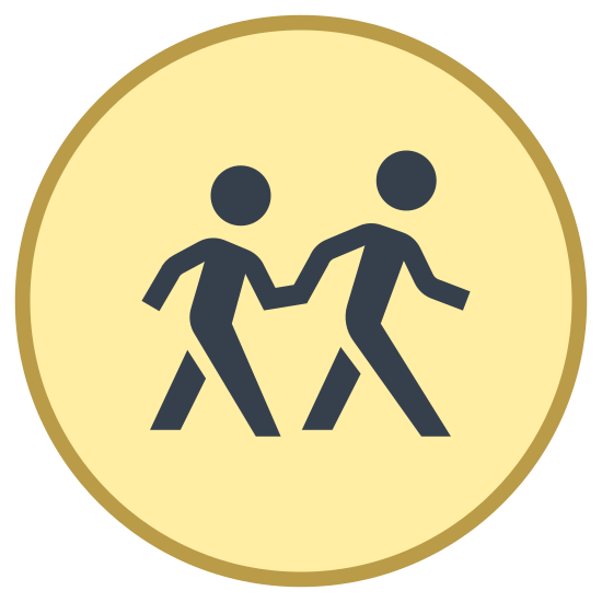 Opiekun dzieci na przejściach icon. A logo of two humanoid figures, one large, one small, holding hands. The logo is emplaced within a circle. The logo looks like a sign typically found on streets near schools urging caution to passing traffic.