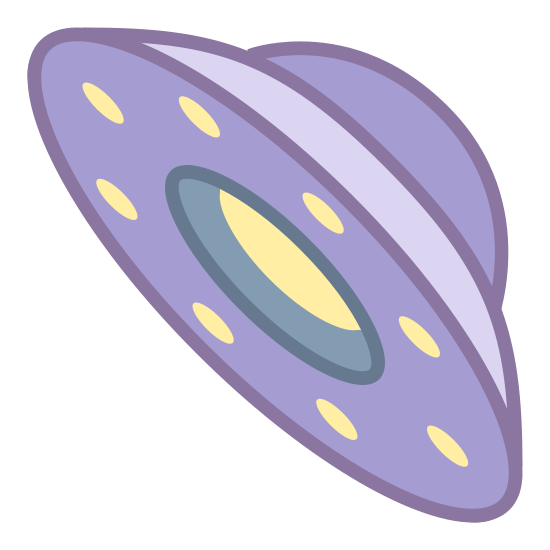 Sci-Fi icon. It is a UFO, it is tilted on its side with a round bubble coming from the top, placed on an oval plate, with three landing brackets coming out from under it.