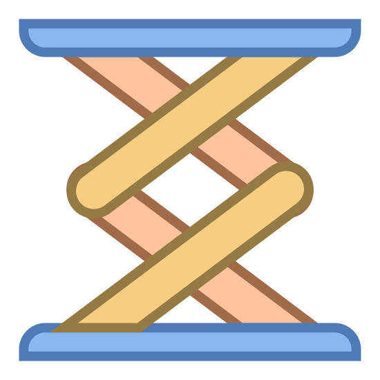 Scissor Lift icon. This icon for Scissor Lift resembles a spring board. There are two rectangular shapes, one at the top and the other at the bottom. Between these two rectangles are 4 lines which intersect one another to give the impression of a spring.