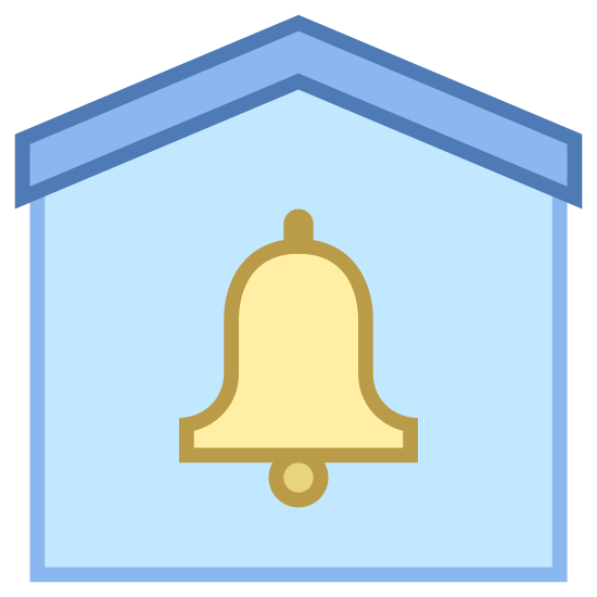 Sécurisée par système d'alarme icon. It is a icon for Secured by Alarm System. This icon contains a bell with two lines on each side signaling its ringing. The ringing bell is inside a hollow house shape.