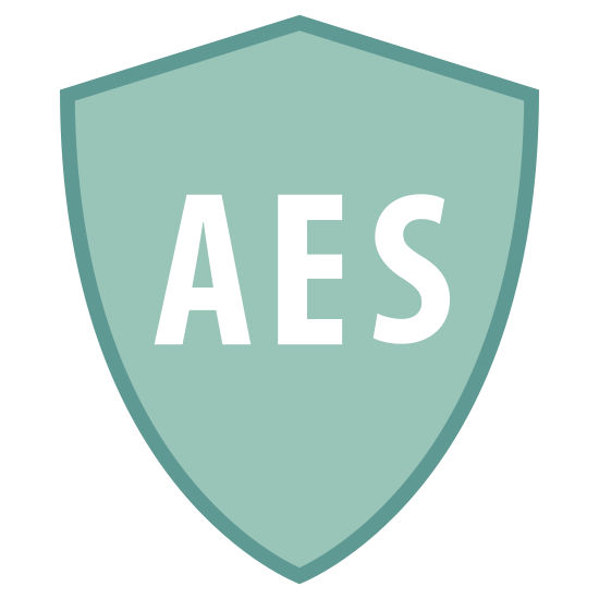 Zabezpieczenia AES icon. There is a badge that looks like a shield, it has one point on top and spread symmetrically to two other points, then goes down to one point for the base of the shield. Written in the middle in all-caps are the letters AES.