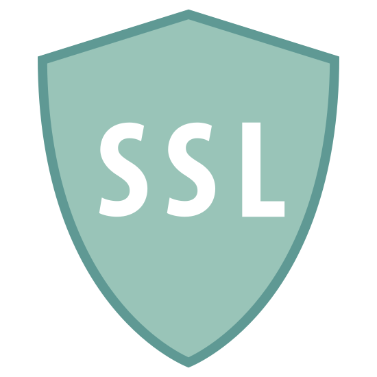 Security SSL icon. It is an emblem or a shield with the letters SSL inside of it right in the middle of the shield. There are four total points on the shield, one at the bottom, two on the top left and top right corner and then one rounded point slightly above the two corners.