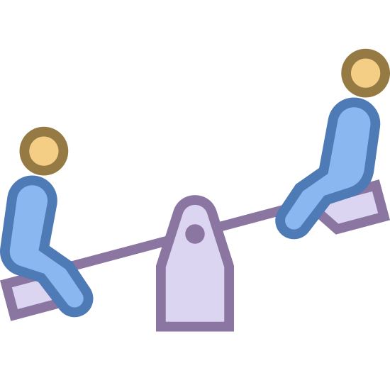 シーソー icon. This is a picture of two people, perhaps children, on a seesaw. there is a spring underneath the seesaw balancing it. the person on the right is higher up than the leftmost person