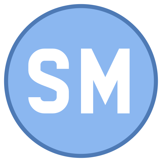 Marca de serviço icon. The letters S and M are next to each other each written out in bubble letters. The letter S follows a typical curvy font where-as the letter M is more jagged.