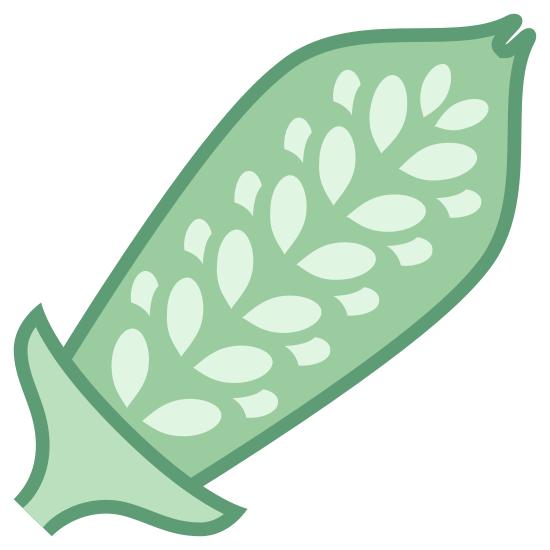Sezam icon. This icon is depicting the pod of the sesame plant with its seeds clearly visible. The pod itself is oblong shaped and forms a point at the end. The object is tilted towards the right.