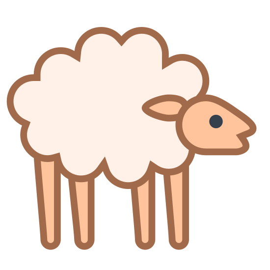 Owca icon. The icon shows a sheep standing up on four stiff legs. It has a round ball of very fluffy fur covering its body with a bare head that is looking alert.