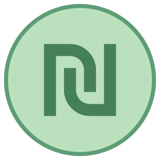 Shekel icon. It's a logo of a shekel which is a unit of weight.  The icon has a round circle around the icon.  The inside of the logo has two matching symbols.  The symbols are straight lines with hooks at the end.  They are balancing out each other.