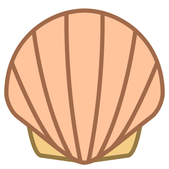Skorupiak icon. This is an image of a seashell. The shell has six lines on it and it is in the upright standing position. This is a cartoon desgin of a seashell and not like one you might find in real life.