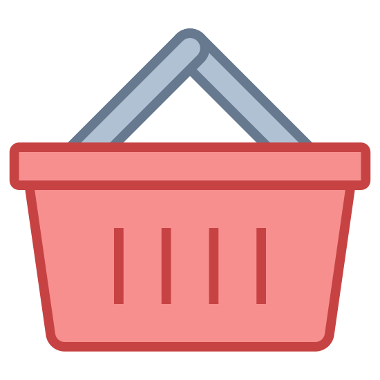 Shopping Basket icon. It is a shopping basket used at the store when only getting a few items. It has two handles and is slotted on the sides. you can fit 4-5 medium size groceries in it.