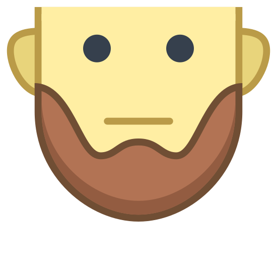 Short Beard icon. This icon is in the shape of a man's face, minus the very top of the head. The eyes are black and filled in and the mouth is curved into a slight frown. On the bottom of the face is a curved line that sections off the chin, appearing like a beard.