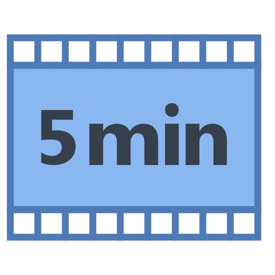Short icon. The icon is a picture of a short video logo. It is shaped like a rectangle, with mini ladder looking objects on the left and right sides. The middle of the rectangle says 5. Below the number 5, it says the word min.