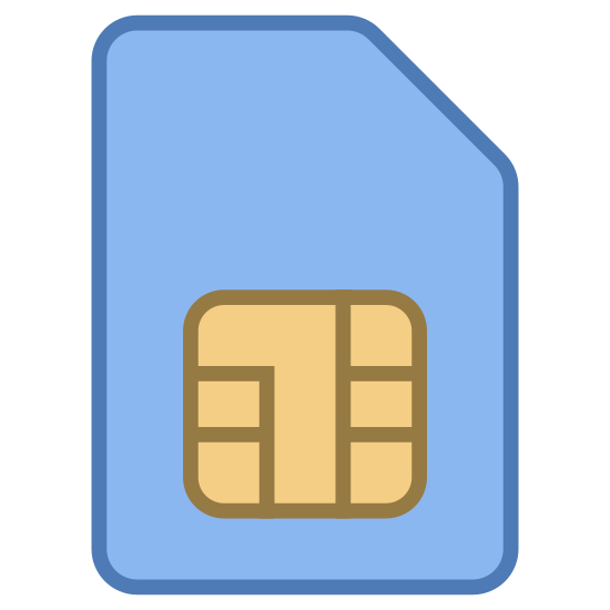 Scheda SIM icon. This icon is a sim card for a cellphone. It is rectangle with a cutoff edge on the top right hand side. It has square at the bottom with a design of smaller squares.