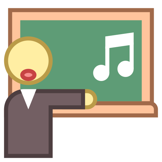 Nauczyciel śpiewu icon. This is a teacher standing in front of their blackboard. The board has a shelf on it to hold chalk or dry erase markers. The teacher has his/her mouth open wide and is teaching students how to sing. He/she has musical notes coming out of his/her open mouth.