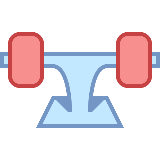 Truck deskorolki icon. The object shown is a skateboard truck that has been flipped upside down and has two wheels attached. There is only one skateboard truck shown and it is not bolted to a skateboard.
