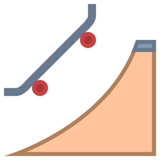 Skatepark icon. This is a picture of a skateboard ramp. it is shaped like a triangle with a curved side above which is a skateboard flying in the air. the skateboard is not straight but has sides that curve upwards