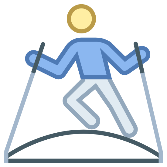 Ski Simulator icon. This is a picture of a person holding onto two skis. they are standing on a curved hill, and one of their legs is bent so it shows they are skiing.