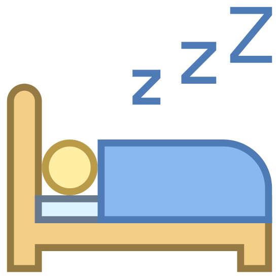 Sleeping in Bed icon. Seen from the side, a person lying down in bed, covered by a blanket. The bed has two legs and a headboard visible.  Only the sleeping person's head is visible. Zs are rising from his/her head.