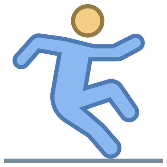 Śliska podłoga icon. It's an icon representing a slippery floor.  It has a stick figure walking from left to right.  There is a line underneath the figure.  The figure is standing on one leg and appears to be trying to catch their balance before they fall.