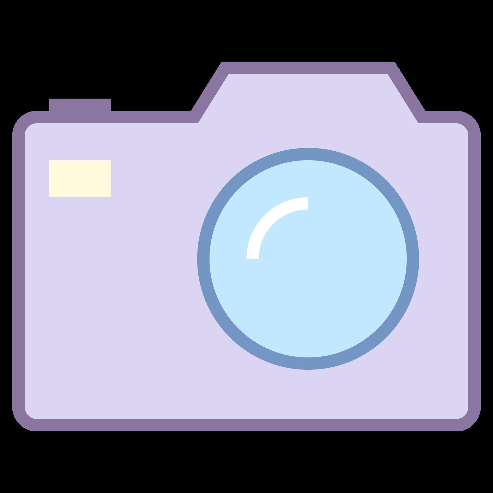 一眼レフカメラ icon. There is a square with curved edges. On the top of the square there are two areas that protrude. There is also a circle inside the square to depict a camera lens as well as a small dot in the upper right corner.