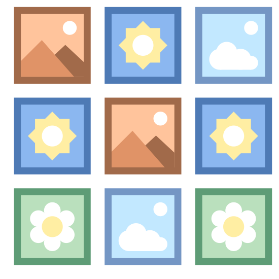 Małe ikony icon. The small icons are represented by many tiny different images or icon. For example, there may be symbols for clouds, suns, mountains, flowers, etc. The images inside the icon are small and is surrounded by a square.