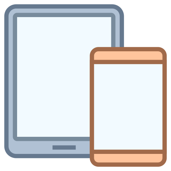 """Smartphone Tablet icon. The icon is a simplified prescription of two devices, a smaller smartphone and a larger tablet. Both devices are rounded rectangles with angular rectangle screens taking up most of the surface, with """"home"""" buttons below them. The smartphone overlaps the tablet slightly on the lower right corner."""