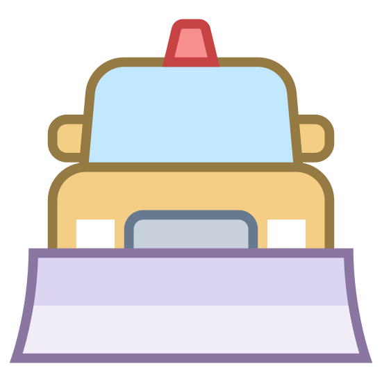 Pług śnieżny icon. This icon depicts a snow plow truck. The truck is facing the viewer and has a plow, rear view mirrors, headlights, and a light on top showing.