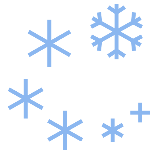 Burza śnieżna icon. This is a picture of six snowflakes that almost form a circle. They are going around in a flurry. They are all different sizes, only one of which is the largest and has six sides. Two small snowflakes only have four sides.