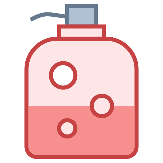 Soap Dispenser icon. This is an image that resembles a soap dispenser.  The icon is a picture of a liquid soap dispenser with the pump facing the left.  The bottle is typical standard liquid soap bottle.
