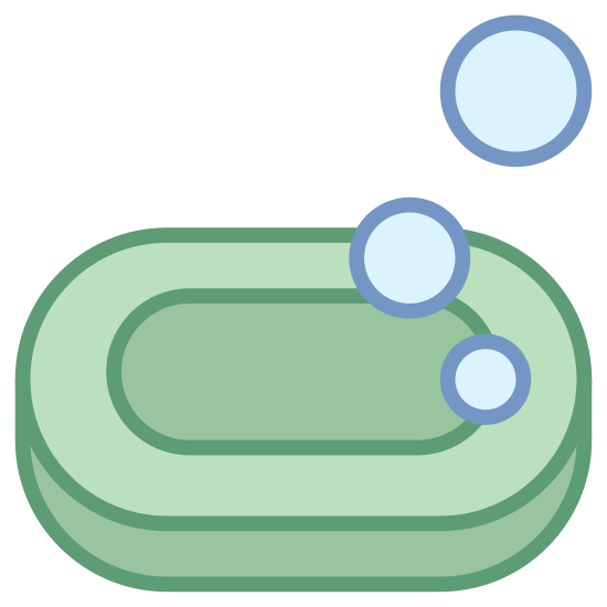 Mydło icon. The icon is shaped like an oval with another oval inside of the first one. To the upper right side you can see two circles. The one closest to the oval is slightly smaller then the other one the is above to the right of the first one.