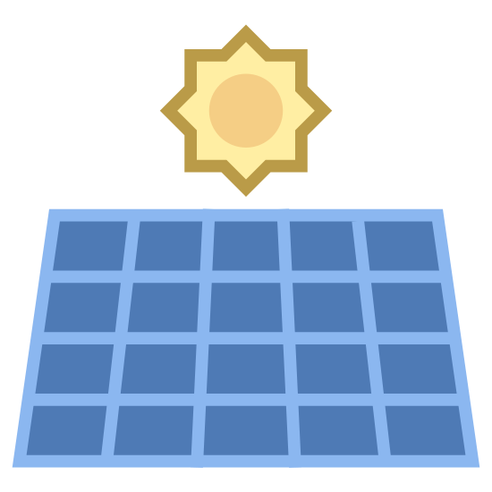 Panel słoneczny icon. A titled square is based upon a stand. Inside the square is a rectangular grid of eight cells, four horizontally and two vertically. Behind the square, a sun cartoon with a circle middle and pointy rays surrounding it appears slightly and you can see only the top half as the bottom is hidden.