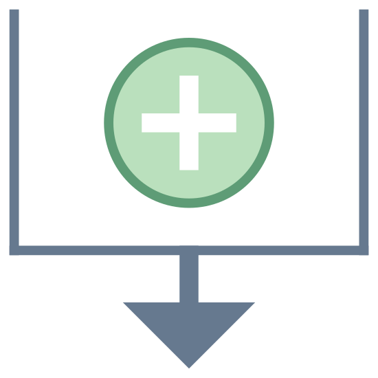 Sortuj wg daty utworzenia icon. There is a square shape, but it is missing the top line in the middle of this open shape is a plus sign, and on the bottom line, in the middle, there is an arrow coming off of it pointing downwards.
