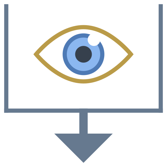 Sort By Recently Viewed icon. It's a logo of a icon in order to sort by recently viewed. It has an eye placed on the inside of an open top square. Underneath the eye is an arrow pointing down.