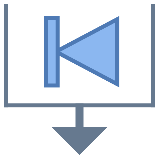 Ordenar por fecha de inicio icon. This is a picture of a box with it's top completely open and missing. in the center of the box is a triangle whose point is facing the left side, attached to a line going vertically. on the bottom of the box is an arrow pointing down