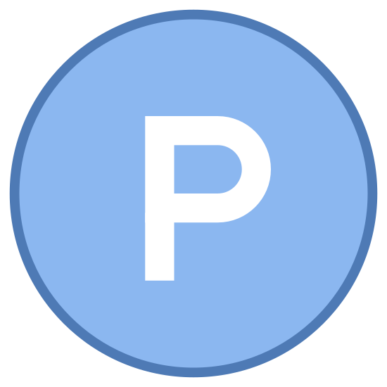 Prawa autorskie do nagrywania dźwięku icon. The icon is shaped like a full circle. Inside the circle at the very center of it you can see a capitalized letter P. The letter is drawn in a two dimensional form so it stands out more.