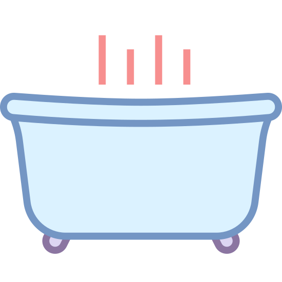 Spa icon. The icon is a depiction of a bathtub filled with hot water. The tub is comprised of a large half-rounded rectangle with a lip above, and supproted by two spindly feet below. Steam is rising out of the bathtub. The icon represents a beauty or health spa.