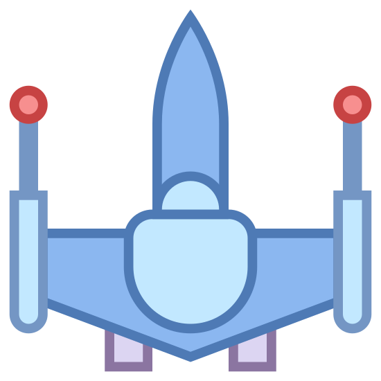 Fighter icon. This looks like a space ship. It appears to be an up-side down triangle. There are two little squares connected to the bottom of the triangle. There's a small square on the top of the triangle, with its bottom missing. There's fire coming from the square.