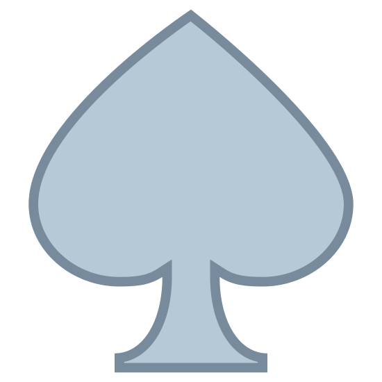 Spades icon. It's a drawing of a spade.  The image looks like a spade that you would find on a playing card.  The body of the spade is perhaps more prominent than the stem of the spade compared to a conventional spade drawing.