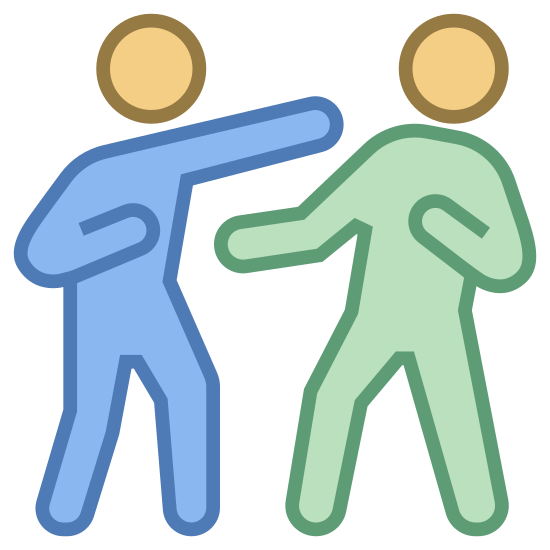Fight icon. It's an image of two people boxing. One person is throwing a punch to the other person's face. The person being punched is leaning back with one hand forward, and one fist pulled back, ready to punch. The person punching has the other fist pulled back, ready to punch again.