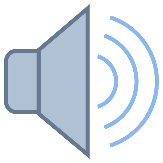 Głośnik icon. A speaker icon is represented with a megaphone shaped with a big opening for the sound to come out. The sound waves will be represented with lines that are shown in half circle shapes that are smaller closer to the megaphone and larger as it gets further away.