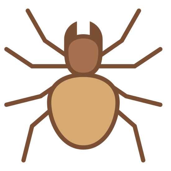Spider icon. This logo is of an arachnid, or spider. It features two incisors, a rounded head, and a slightly elongated body. It was four slightly bent legs on each side of its body.