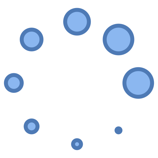 Stream icon. The icon is typically seen in loading animations for websites. It's a circle made up of smaller circles around the outside. One circle is larger, and they gradually get smaller as they progress around the outer circle.