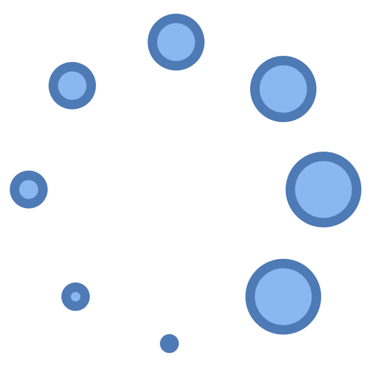 Klatka ładowania 4 icon. A group of circles are aligned in the shape of a bigger circle. The smallest circle is at the center bottom and in a clockwise direction each circle gets slightly bigger.