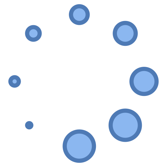 Load icon. The image is a circle made of circles. The circles vary in size. Starting from the bottom left is the smallest circle that looks like a dot. Going clockwise, the circles get bigger until the biggest one is right next to the dot at the bottom.