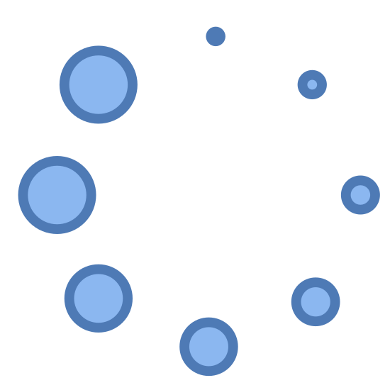 Streaming icon. There are 8 small circles arranged in a circle. They are get progressively larger going clockwise starting at the top (12 o'clock) position.