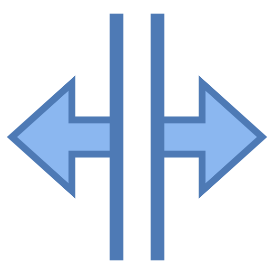 Divider icon. There is two vertical lines of equal length. At the middle point of each vertical line is a horizontal line with an arrow head at the end going opposite directions.