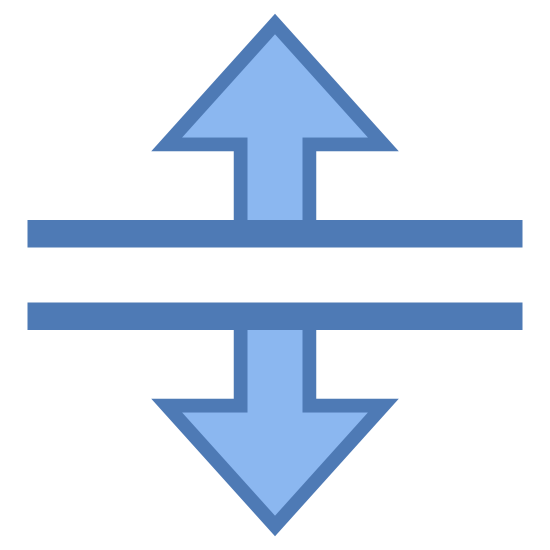 Podział pionowy icon. This icon consists of two parallel lines running near each other horizontally. Each line has another line attached at a ninety degree angle with an arrow point formed on the end. One line is pointing up, the other is pointing down.