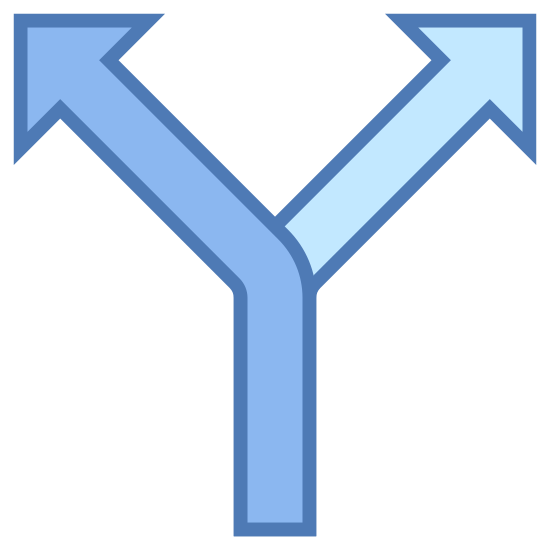 Rozdzielać icon. The icon is a picture of the logo for split. The icon has a large letter U shape. Each end of the U shape has an arrow pointing up. In the bottom middle of the U shape, there is a line extending downward.