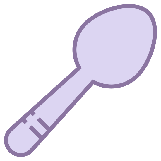 Łyżka icon. The icon shows a basic spoon that would be used to eat a meal. It has a medium sized ladle and a proportional rounded handle, and is an average sized spoon.