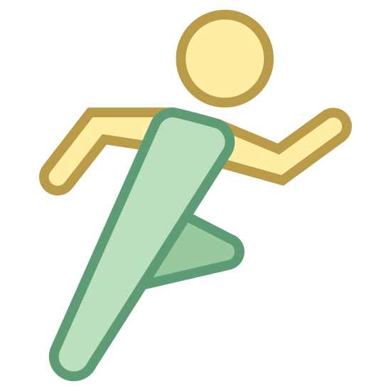Tryb sportowy icon. This logo features a nondescript looking person performing an exercise. The figure is pumping both their arms and their legs as if they are running in a race or marathon.